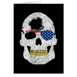 Pirate Skull with American Flag Eye Patch Greeting Card