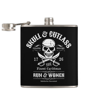 Pirate Skull with Crossed Cutlasses Flask
