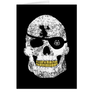 Pirate Skull with Flashy Eye Patch and Gold Teeth Greeting Card