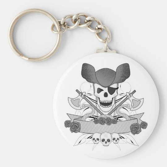 pirate skull with snakes and roses key ring