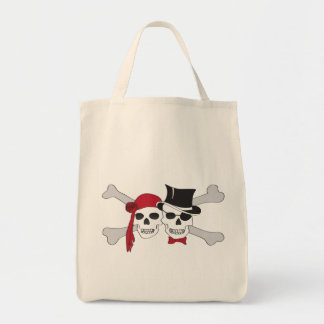 pirate skulls and crossbones grocery tote bag