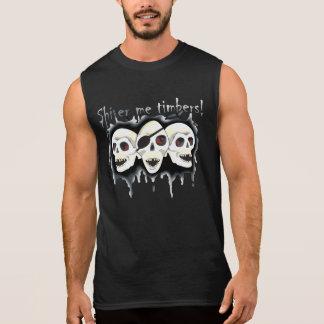 Pirate Skulls Shiver me Timbers Black Sleeveless Sleeveless Tee