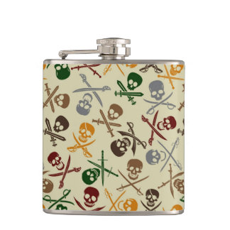 Pirate Skulls with Crossed Swords Flasks