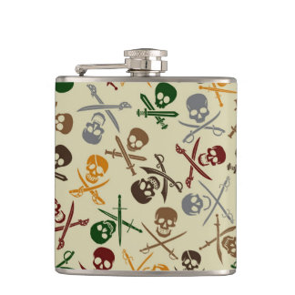 Pirate Skulls with Crossed Swords Hip Flask