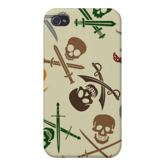 Pirate Skulls with Crossed Swords iPhone 4 Covers