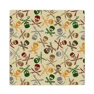 Pirate Skulls with Crossed Swords Wood Coaster