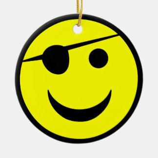 Pirate Smiley Round Ceramic Decoration