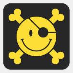Pirate Smiley Square Stickers