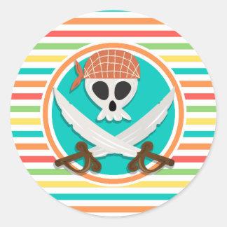 Pirate Swords; Bright Rainbow Stripes Classic Round Sticker