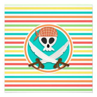 Pirate Swords Bright Rainbow Stripes Invite