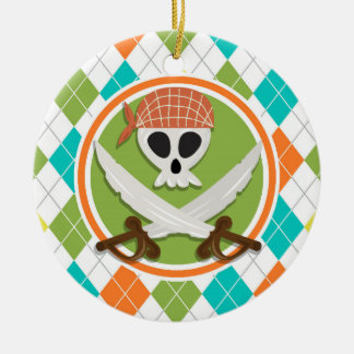 Pirate Swords on Colorful Argyle Pattern Double-Sided Ceramic Round Christmas Ornament