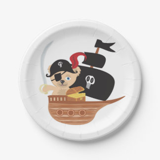 Pirate Teddy Bear Paper Plate 7 Inch Paper Plate