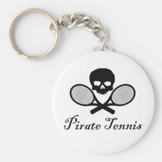 Pirate Tennis Skull & Racquet Key Ring