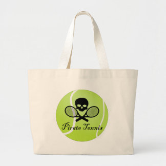 Pirate Tennis w/ Tennis Ball Large Tote Bag
