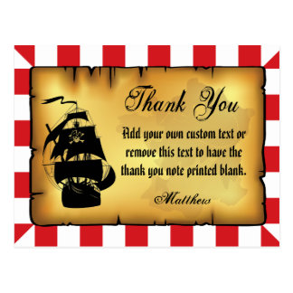 Pirate Thank You Cards Postcard