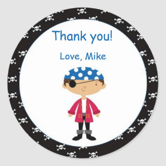 Pirate Thank You Tags Personalised Stickers