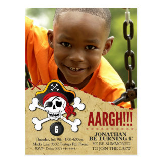 Pirate Themed Party Invitation for Kids Postcard