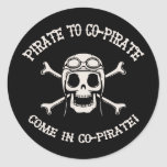 Pirate to Co-Pirate Round Stickers