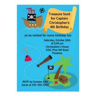 Pirate Treasure Hunt Birthday Party Invitation