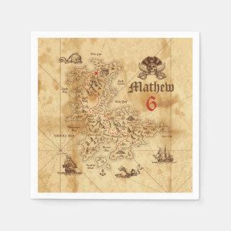 Pirate Treasure Map Birthday Paper Napkins