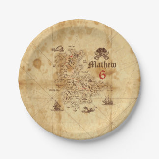 Pirate Treasure Map Birthday Paper Plate 7 Inch Paper Plate
