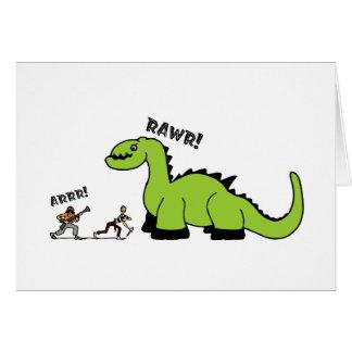 Pirate vs. Dinosaur Greeting Card