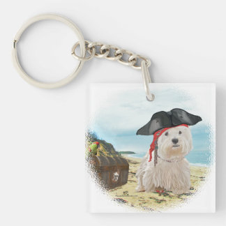 Pirate Westie Double-Sided Square Acrylic Key Ring