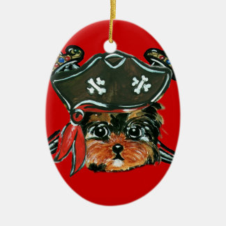Pirate Yorkie Poo Christmas Ornament