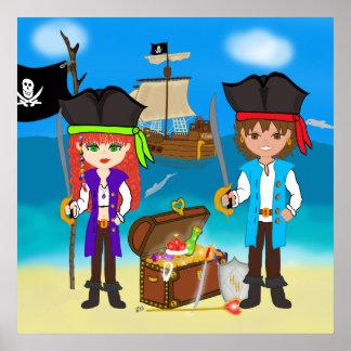 Pirates and Treasure Poster Print