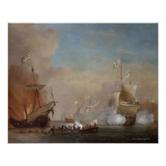 Pirates attack an English naval vessel painting Poster