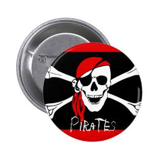 Pirates - Black and Red Pirate Skull 6 Cm Round Badge