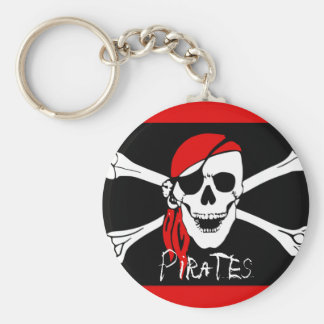 Pirates - Black and Red Pirate Skull Key Ring
