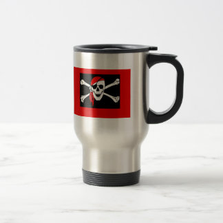 Pirates - Black and Red Pirate Skull Travel Mug