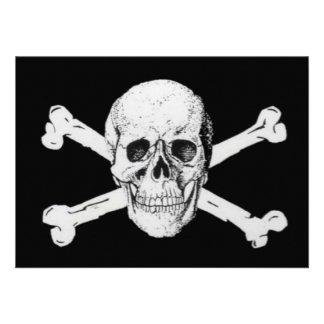 Pirates Black Skull and Crossbones Invite