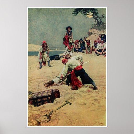 Pirates Fight Over Treasure Poster