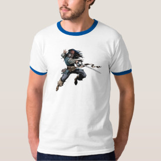 Pirates Jack Sparrow aiming a knife T-Shirt