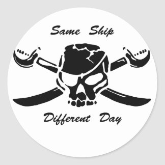 Pirates Jolly Roger Same Ship Different Day Round Sticker