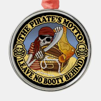 Pirate's Motto Silver-Colored Round Decoration