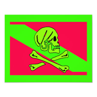 PIRATES PARTY THEME JOLLY ROGER FLAG INVITATION
