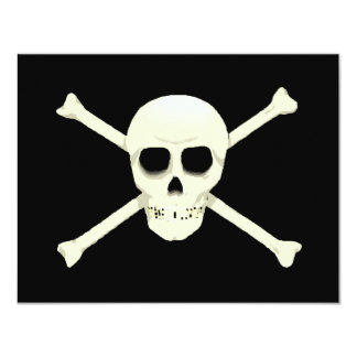 "PIRATES PARTY THEME JOLLY ROGER FLAG INVITATION 4.25"" X 5.5"" INVITATION CARD"