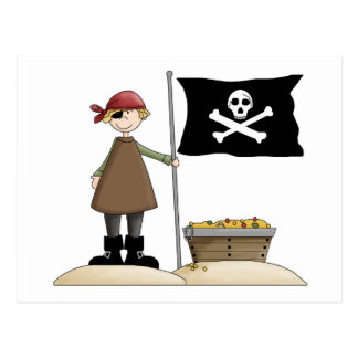 Pirates · Pirate, Flag & Treasure Postcard