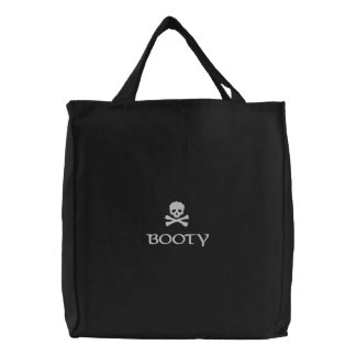 Pirates Skull and Crossbones Booty Embroidered Tote Bag
