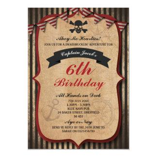 Pirates themed birthday party invitation