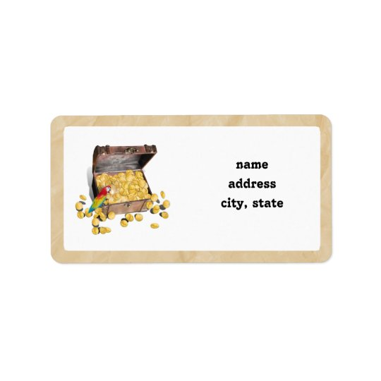 Pirate's Treasure Chest on Crinkle Paper Address Label