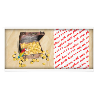 Pirate's Treasure Chest on Crinkle Paper Personalized Photo Card