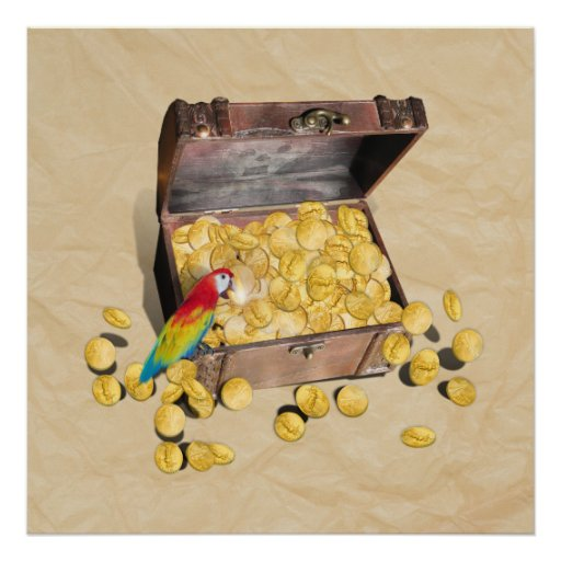 Pirate's Treasure Chest on Crinkle Paper Print