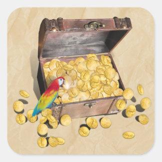 Pirate's Treasure Chest on Crinkle Paper Square Sticker