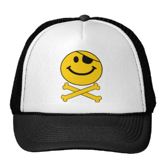 Piratey eyepatch Smiley Skull Cross Bones Mesh Hat