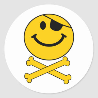 Piratey eyepatch Smiley Skull & Cross Bones Round Stickers