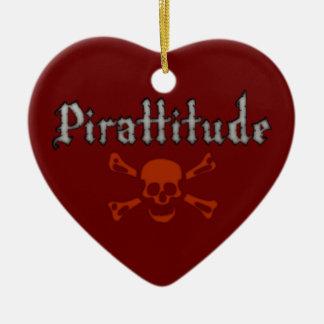 Pirattitude Blood Jolly Roger Ceramic Heart Decoration